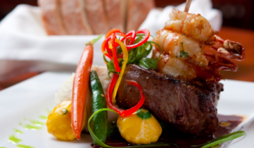 Murrays Seafood Restaurant, Cowes – Surf & Turf Platter or Rump Steak & Slow Cooked Beef Short-Rib Dinner with Dessert – normally £26.00 deal price £18.00