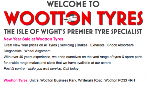 New Year Sale @ Wootton Tyres, Wootton – Promotional Feature