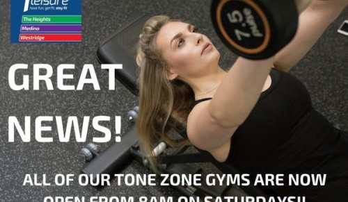 All of our Tone Zone Gyms are now open from 8am on Saturdays at 1 Leisure – Promotional Feature