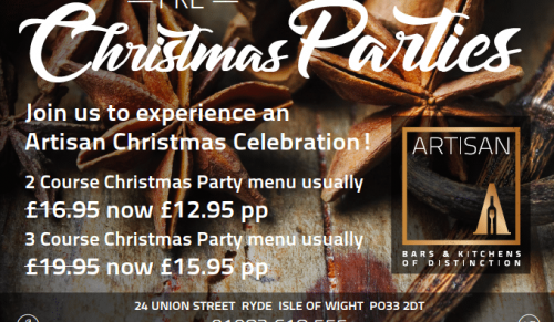 Artisan, Ryde – Christmas Party Two or Three-Course Lunch or Dinner – normally up to £19.95 deal price from £12.95