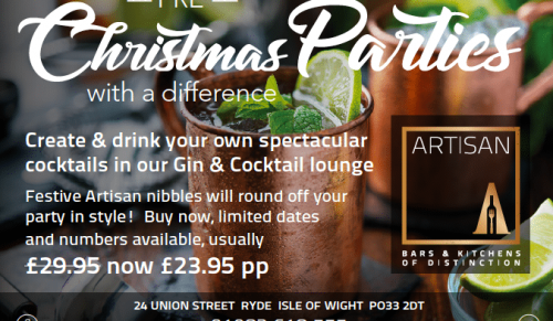 Artisan, Ryde – Choice of Cocktail Making Masterclasses – normally £29.95 deal price £23.95
